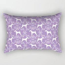 Airedale Terrier silhouette purple florals dog pattern pet art minimal black and white Rectangular Pillow