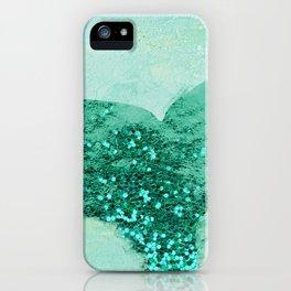 A Mermaid's Tail III, painterly coastal art, aqua metal iPhone Case