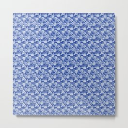 Flowing Watercolor Flowers in Delft Blue and White Metal Print