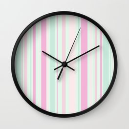 Pastel Pink, Purple, Green and Yellow Stripes Wall Clock