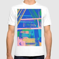 Industrial Abstract Blue 2 White MEDIUM Mens Fitted Tee