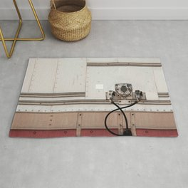 Abstract Panels With Red And White Tiles Rug
