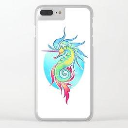 Sea Unicorn Clear iPhone Case