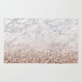Bold ombre rose gold glitter - white marble Rug
