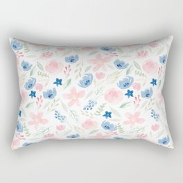 Blush Pink and Dusty Blue Watercolor Florals Rectangular Pillow