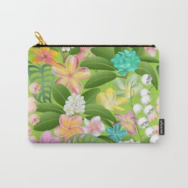 Tropical Floral Plumeria Paradise Carry-All Pouch