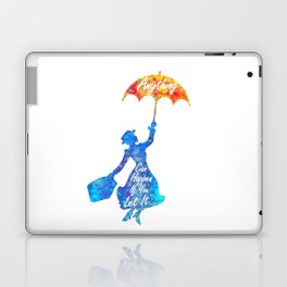 Anything Can Happen If You Let It - Mary Poppins Quote - colorful watercolor splatter Laptop & iPad Skin