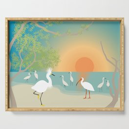 Egrets on a Sunset Beach Serving Tray