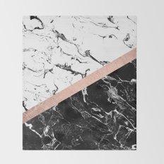 Modern black white marble color block rose gold Throw Blanket