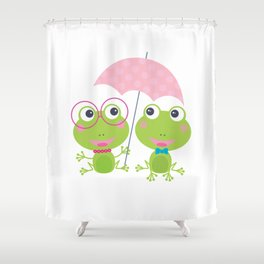 Two frogs huddle under an umbrella Shower Curtain