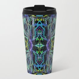 Psychedelic Geometric Grass Quilt in Blue Travel Mug