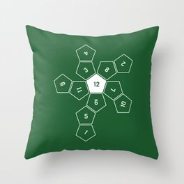 Green Unrolled D12 Throw Pillow