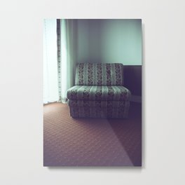 Floral upholstered chair in a room Metal Print