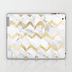 Modern faux gold chevron hand drawn white marble Laptop & iPad Skin