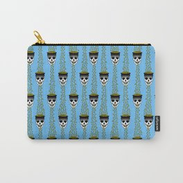 skulls puking gold on blue Carry-All Pouch