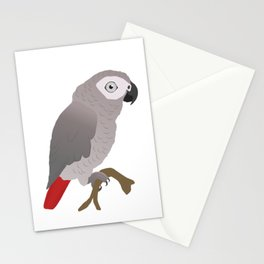 Cute African grey parrot vector Stationery Cards