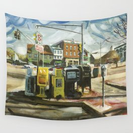 Newspaper Depot on America's Cup Avenue, afternoon sun, Fall 1997 Wall Tapestry