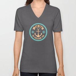 The Sea Calls Me Sea Captain Anchor Unisex V-Neck