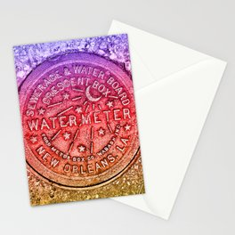 New Orleans Water Meter Louisiana Crescent City NOLA Water Board Metalwork Rainbow Gay Pride Stationery Cards