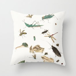 Insects, frogs and a snail Throw Pillow