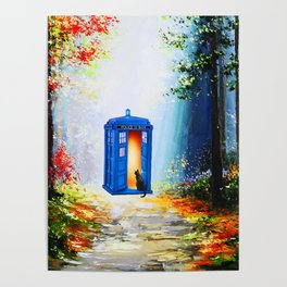 tardis alone in forest Poster