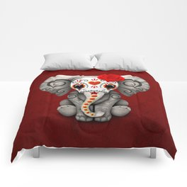 Deep Red Day of the Dead Sugar Skull Baby Elephant Comforters