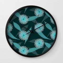 Australian Flora in Blue Wall Clock