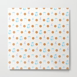 Milk and Cookies Pattern on Cream Metal Print