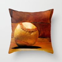 baseball Throw Pillows featuring Baseball by Michelle Sauer