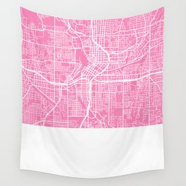 Atlanta map pink Wall Tapestry