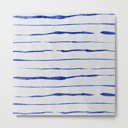 Blue Wiggly Stripes Pattern Metal Print