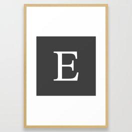 Very Dark Gray Basic Monogram E Framed Art Print
