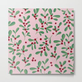 Little berries and leaves mistletoe christmas garden pattern pink green red Metal Print