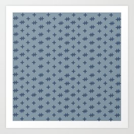 Hatch Cross Blue Art Print