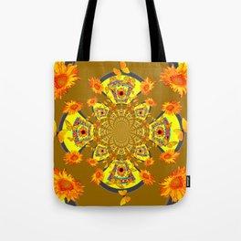 ABSTRACT SUNFLOWERS & BUTTERFLIES KHAKI ART Tote Bag