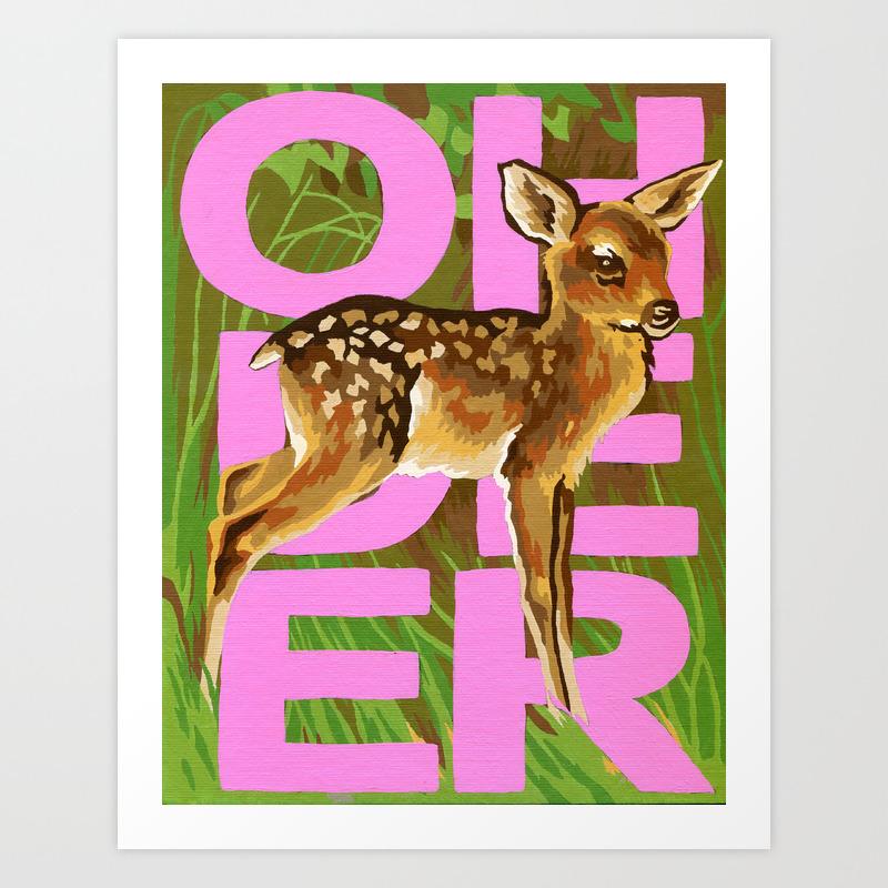 Vintage Paint By Number Pbn Baby Oh Deer Art Print