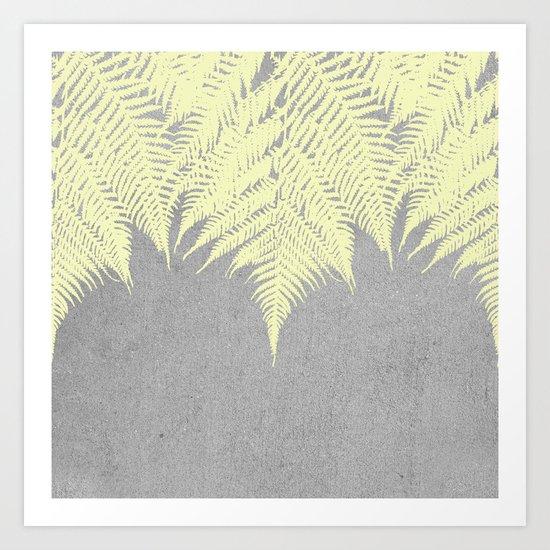 Concrete Fern Yellow Art Print