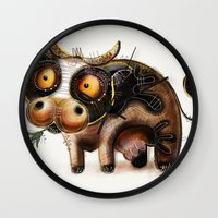 cow Wall Clocks featuring Cow by Riccardo Pertici