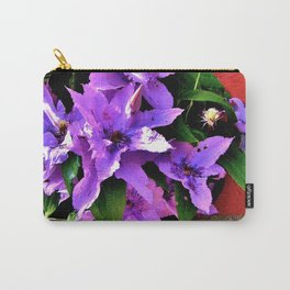 Beautiful purple flowerbush on the wall Carry-All Pouch