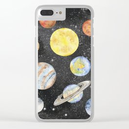Watercolor Planets Clear iPhone Case