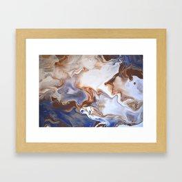 Blue Brown Abstract Fluid Modern art Framed Art Print