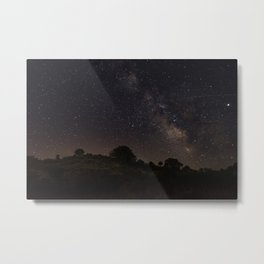 long-exposure of the sky at night in extremadura Metal Print