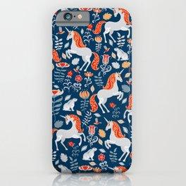 Unicorns, rabbits, birds, flowers. Decorative seamless pattern. Folk art. iPhone Case