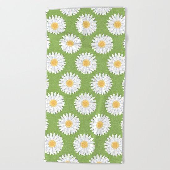 Spring Daisies_Greenery Beach Towel
