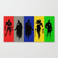justice league Canvas Prints featuring Justice Silhouettes by iankingart