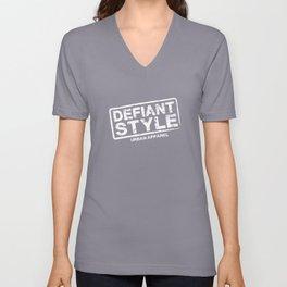 Defiant Style Logo  [White] Unisex V-Neck
