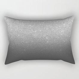 Modern faux silver glitter ombre grey black color block Rectangular Pillow