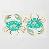 crab Area & Throw Rugs featuring Crab – Turquoise & Gold by Cat Coquillette