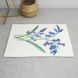 Blue Lily of the Valley Artwork Painting Rug