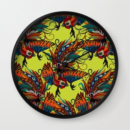 rooster ink chartreuse Wall Clock